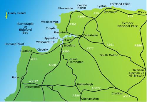 We cover Barnstaple,Bideford,Torrington